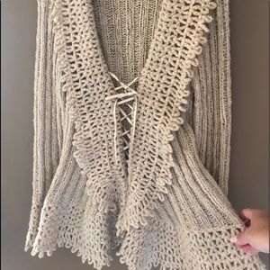 Express Handknit Lace Up Cardigan w/Bell Sleeves